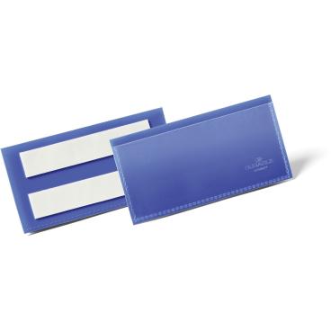DURABLE Selbstklebende Kennzeichnungstasche 1 Packung = 50 Stück, Maße: 100 x 38 mm, Farbe: blau
