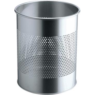 DURABLE Metall Papierkorb mit Perforationsring, 15 Liter Farbe: metallic silber