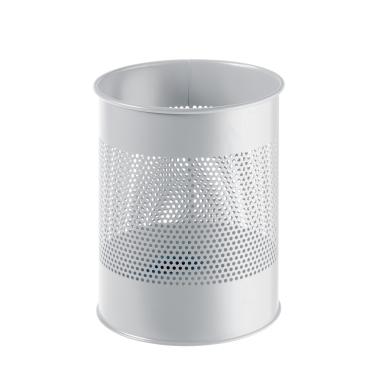 DURABLE Papierkorb Metall mit Perforationsring, 15 Liter Farbe: grau
