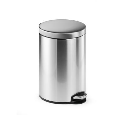 DURABLE Edelstahl Treteimer, rund Volumen: 12 l, Farbe: metallic silber