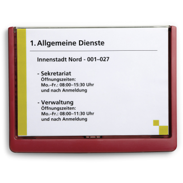 DURABLE CLICK SIGN A5 Türschild, 210 x 148,5 mm Farbe: rot