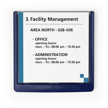 DURABLE CLICK SIGN Türschild, 149 x 148,5 mm Farbe: blau