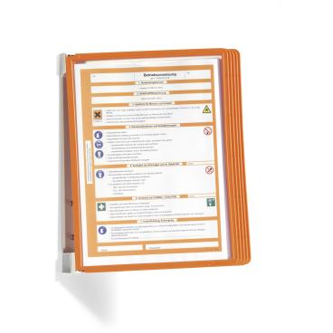 DURABLE VARIO® WALL 5 Wandhalter 1 Set = 1 Wandhalter + 5 Sichttafeln, Farbe: orange