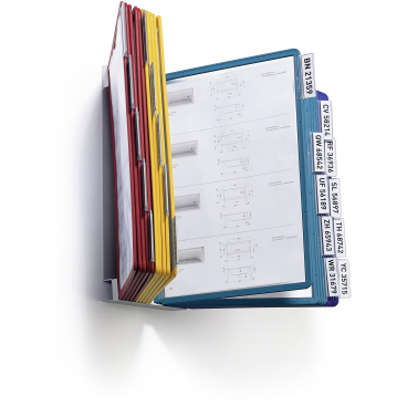 DURABLE VARIO® WALL 20 Wandhalter 1 Set = 1 Wandhalter + 20 Sichttafeln, Farbe: farbig sortiert