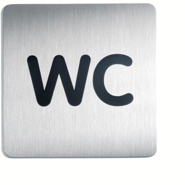 DURABLE PICTO WC Piktogramm, quadratisch, 150 x 150 mm Farbe: metallic silber