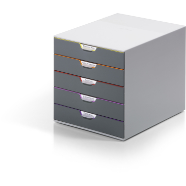 DURABLE VARICOLOR® 5 Schubladenbox Maße: 280 x 292 x 356 mm, Farbe: farbiger Ablauf/Verlauf