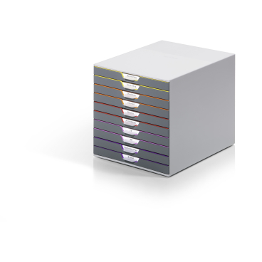 DURABLE VARICOLOR® 10 Schubladenbox Maße: 280 x 292 x 356 mm, Farbe: farbiger Ablauf/Verlauf