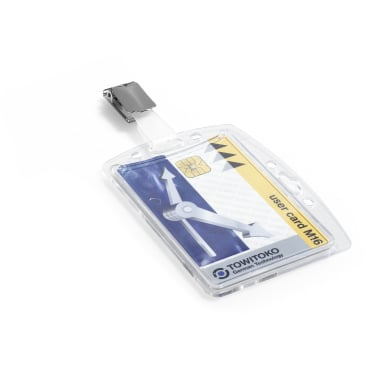 DURABLE Hartbox mit Clip für 1 Betriebsausweis 1 Packung = 25 Stück, Farbe: transparent