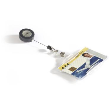 DURABLE Ausweishalter mit Jojo für einen Betriebsausweis 1 Packung = 10 Stück, Farbe: transparent