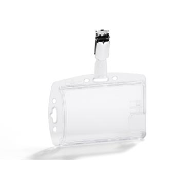 DURABLE Hartbox mit Clip für zwei Betriebs- / Sicherheitsausweise 1 Packung = 25 Stück, Farbe: transparent