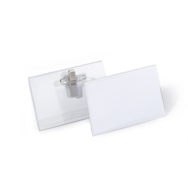 DURABLE Namensschild mit Kombiklemme, 54 x 90 mm 1 Packung = 50 Stück, Farbe: transparent
