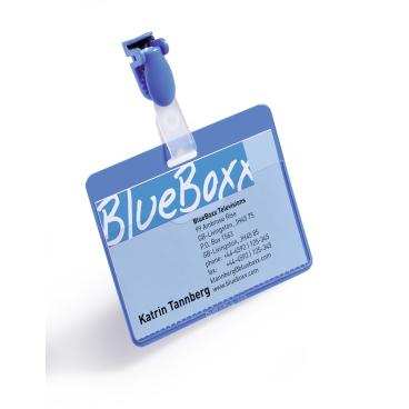 DURABLE Namensschild mit Clip, 60 x 90 mm 1 Packung = 25 Stück, Farbe: blau