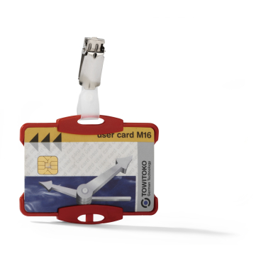 DURABLE Ausweishalter mit Clip für 1 Betriebsausweis 1 Packung = 25 Stück, Farbe: rot