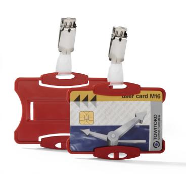 DURABLE Ausweishalter mit Clip für einen Betriebsausweis 1 Packung = 25 Stück, Farbe: rot