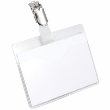 DURABLE Namensschild mit Clip, 60 x 90 mm 1 Packung = 25 Stück, Farbe: transparent