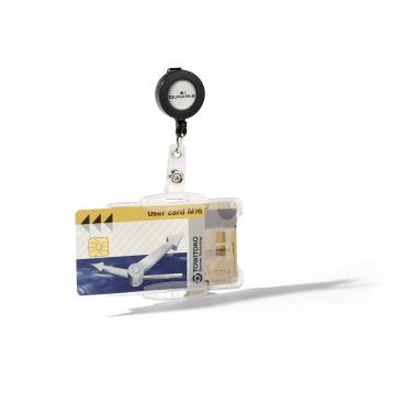 DURABLE Ausweishalter DUO mit Jojo für 2 Betriebsausweise 1 Packung = 10 Stück, Farbe: transparent