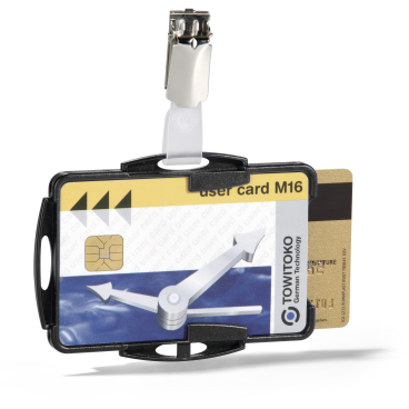 DURABLE Ausweishalter DUO mit Clip für 2 Betriebsausweise 1 Packung = 25 Stück, Farbe: schwarz