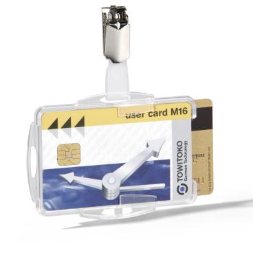 DURABLE Duo Ausweishalter mit Clip für zwei Betriebsausweise 1 Packung = 25 Stück, Farbe: transparent