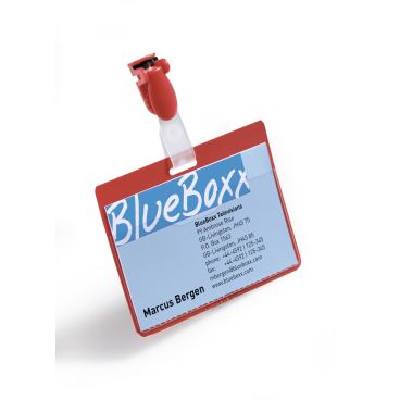 DURABLE Namensschild mit Clip 1 Packung = 25 Stück, Farbe: rot
