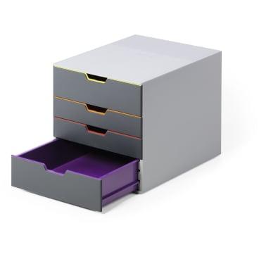 DURABLE VARICOLOR® 4 Schubladenbox Maße: 280 x 292 x 356 mm, Farbe: farbiger Ablauf/Verlauf