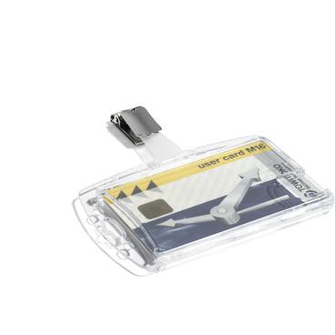 DURABLE Hartbox mit Clip für 2 Betriebsausweise 1 Packung = 25 Stück, Farbe: transparent