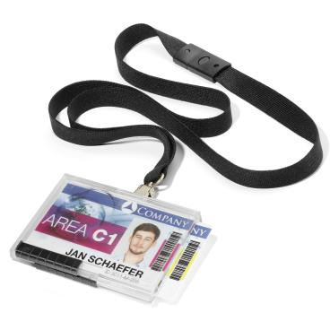 DURABLE PUSHBOX DUO Kartenhalter mit Textilband 1 Packung = 10 Stück, Farbe: schwarz