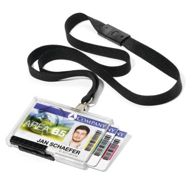 DURABLE PUSHBOX TRIO Kartenhalter mit Textilband 1 Packung = 10 Stück, Farbe: schwarz