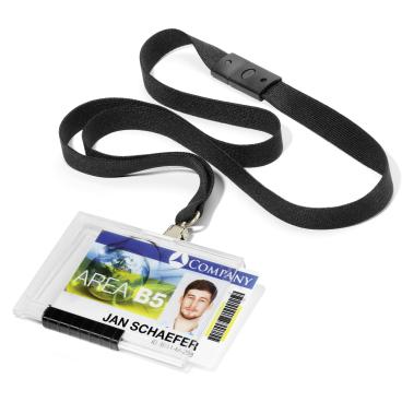 DURABLE PUSHBOX MONO Kartenhalter mit Textilband 1 Packung = 10 Stück, Farbe: schwarz
