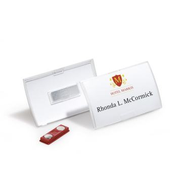 DURABLE CLICK FOLD Namensschild mit Magnet 1 Packung = 10 Stück, Innenmaße: 54 x 90 mm