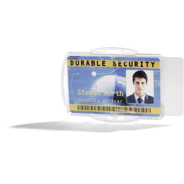DURABLE Ausweishalter für zwei Betriebs- / Sicherheitsausweise 1 Packung = 10 Stück, Farbe: transparent
