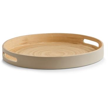 Zeller Bamboo Tablett, taupe Durchmesser: ca. 35 x 4 cm