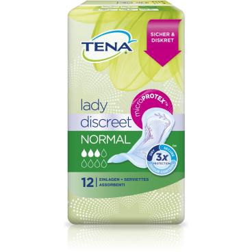 TENA Lady Discreet Normal Slipeinlagen 1 Karton = 6 x 12 Stück = 72 Stück, Länge: 27,5 cm