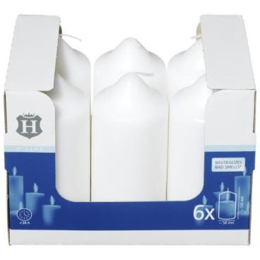 H-Line Stumpenkerzen 1 Karton = 6 Stück, Farbe: weiß