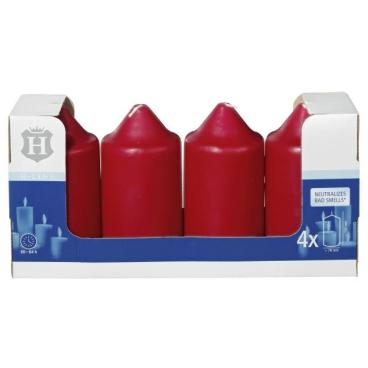 H-Line Stumpenkerzen 1 Karton = 4 Stück, Farbe: Bordeaux