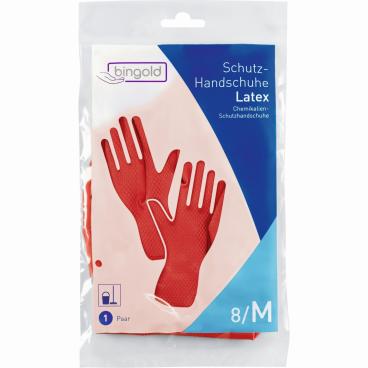 BINGOLD Schutzhandschuhe Latex, rot 1 Packung = 12 Paar, Größe: S