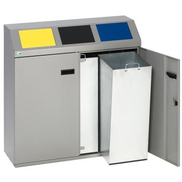 VAR Wertstoffsammelstation, silber Volumen: 150 l, 3-fach