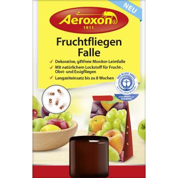 Aeroxon® Fruchtfliegen-Falle 1 Karton = 6 Packungen à 1 Leimfalle + 40 ml Flasche