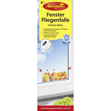 """Aeroxon® Fenster-Fliegenfalle """"Früchte"""" 1 Packung = 4 Stück"""