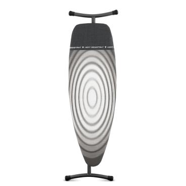 Brabantia Streckmetall Bügeltisch mit hitzebeständiger Parkzone Rohrdurchmesser 35 mm, Titan Oval, Größe D