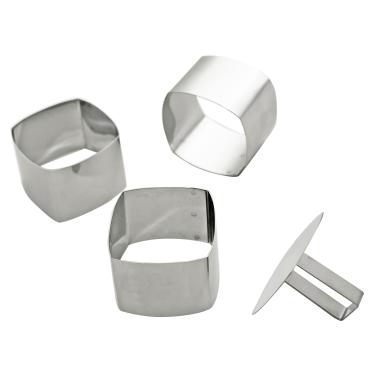 SCHNEIDER Schaumspeiseringe-Set, Quadrat abgerundet Höhe: 65 mm, 4-teilig (3 Formen + 1 Drücker)