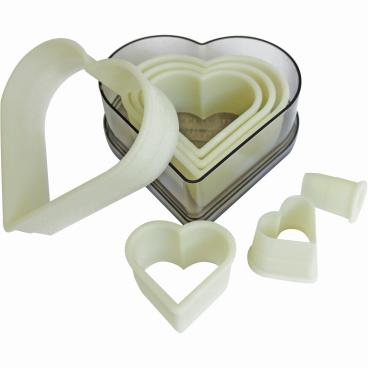 SCHNEIDER Ausstechersatz aus Nylon, Herz 7-teiliges Set, glatt