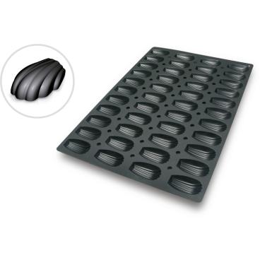 SCHNEIDER Silikon-Backform, Madeleine, schwarz Abmessung: 40 x 60 cm, Durchmesser 78 x 45 x H 18 mm
