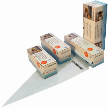 SCHNEIDER Einweg-Spritzbeutel, gerollt, blau 1 Box = 100 Stück, Abmessung: 470 x 230 mm