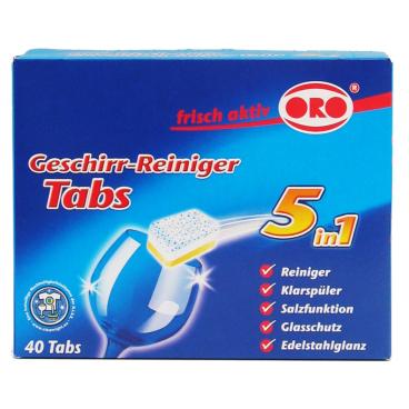 ORO®-frisch-aktiv 5in1 Tabs Geschirr-Reiniger Tabs 1 Packung = 40 x 20 g