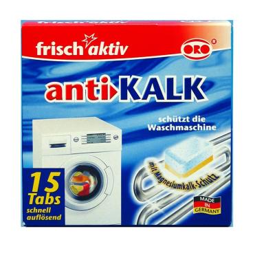 ORO®-frisch-aktiv anti-KALK für Waschmaschinen 1 Packung = 15 x 16 g Tabletten