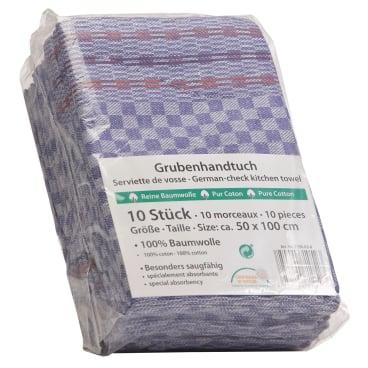 Grubenhandtuch, 50 x 90 cm 1 Karton = 20 Packungen à 10 Stück = 200 Stück, blau/weiß