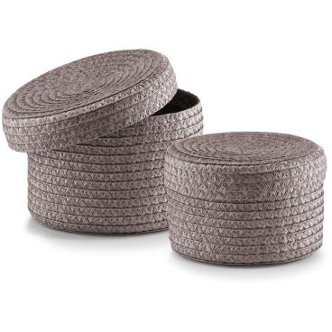 Zeller Korb-Set mit Deckel, 2-teilig, rund, grau