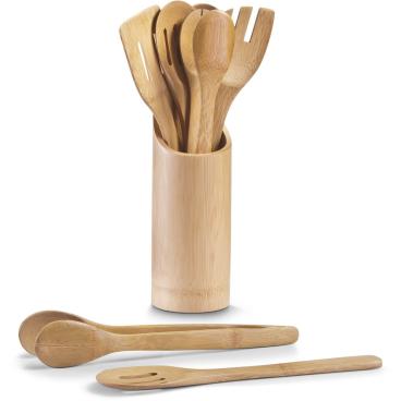 Zeller Bamboo Küchenutensilienhalter, 7-teilig