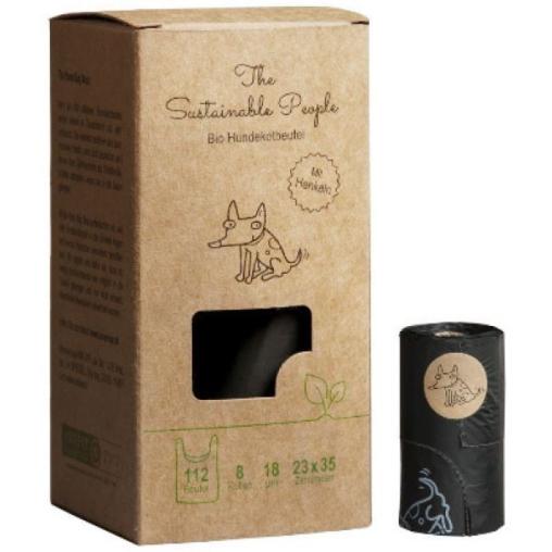 TSP Bio Hundekotbeutel Comfort mit Henkeln, schwarz, 23 x 35 cm