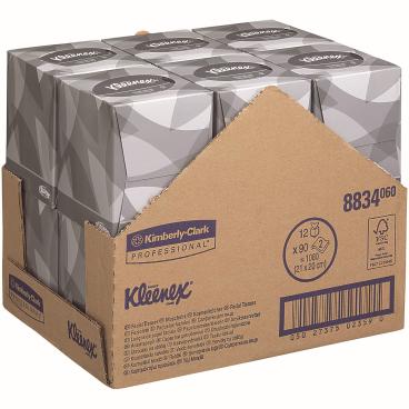 KLEENEX® Kosmetiktücher Würfel-Box 1 Karton = 12 Boxen á 90 Stück = 1080 Kosmetiktücher